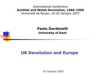 Paolo Dardanelli  University of Kent