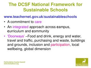 The DCSF National Framework for Sustainable Schools