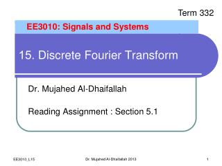 15 . Discrete Fourier Transform