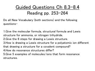 Guided Questions Ch 8.3-8.4 Reading pp. 253-264