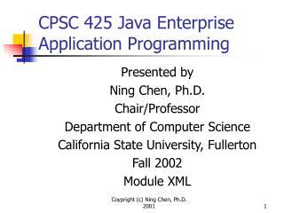 CPSC 425 Java Enterprise Application Programming