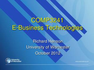 COMP3241 E-Business Technologies