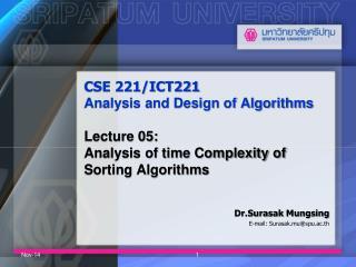 Dr.Surasak Mungsing E-mail: Surasak.mu@spu.ac.th