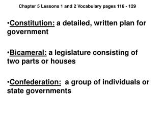 Chapter 5 Lessons 1 and 2 Vocabulary pages 116 - 129