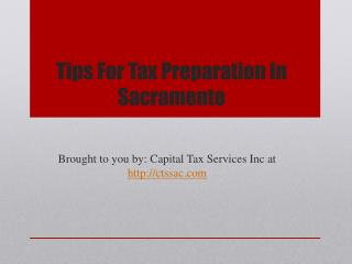 Tips For Tax Preparation In Sacramento