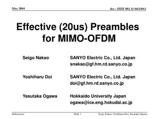 Effective (20us) Preambles  for MIMO-OFDM