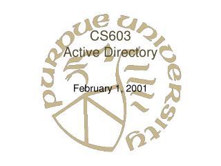 CS603 Active Directory
