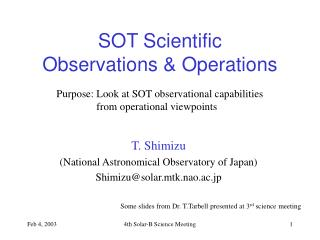 SOT Scientific  Observations & Operations