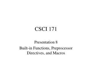 CSCI 171