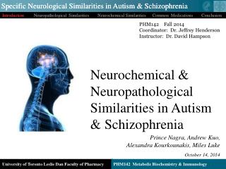 Neurochemical & Neuropathological Similarities in Autism        & Schizophrenia