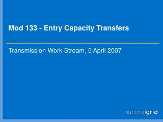 Mod 133 - Entry Capacity Transfers