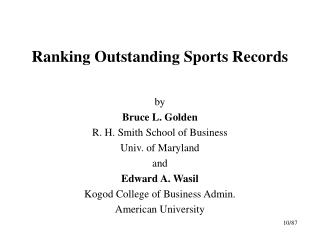 Ranking Outstanding Sports Records