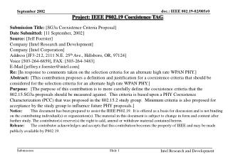 Project: IEEE P802.19 Coexistence TAG Submission Title:  [SG3a Coexistence Criteria Proposal]