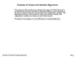 Example of Simple and Multiple Regression