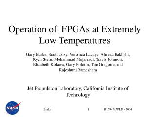 Operation of  FPGAs at Extremely Low Temperatures