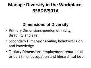 Manage Diversity in the Workplace-BSBDIV501A