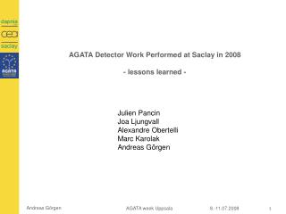 AGATA Detector Work Performed at Saclay in 2008 - lessons learned -