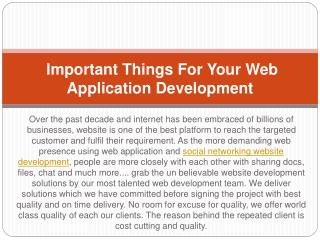 Important Things For Your Web Application Development