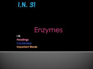 Enzymes I.N.  Headings Vocabulary Important Words