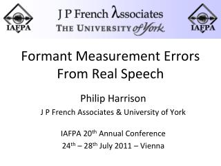 Formant Measurement Errors From Real Speech