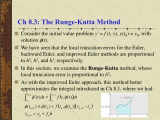 Ch 8.3: The Runge-Kutta Method