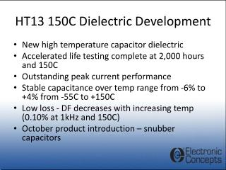 HT13 150C Dielectric Development