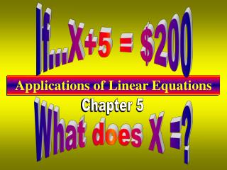 Applications of Linear Equations
