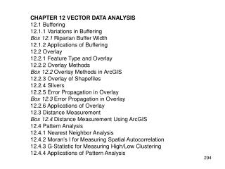 CHAPTER 12 VECTOR DATA ANALYSIS 12.1 Buffering 12.1.1 Variations in Buffering