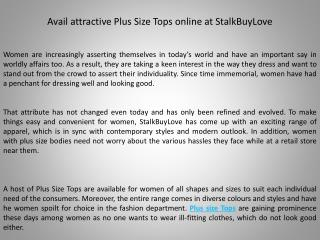 Avail attractive Plus Size Tops online at StalkBuyLove
