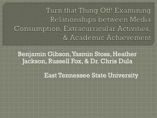 Benjamin Gibson, Yasmin Stoss, Heather Jackson, Russell Fox, & Dr. Chris Dula