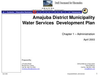 Amajuba District Municipality Water Services  Development Plan Chapter 1 – Administration