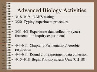 Advanced Biology Activities