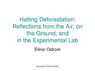 Halting Deforestation:  Reflections from the Air, on the Ground, and  in the Experimental Lab