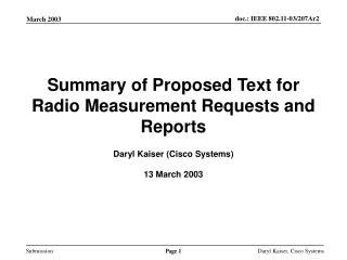 Summary of Proposed Text for Radio Measurement Requests and Reports