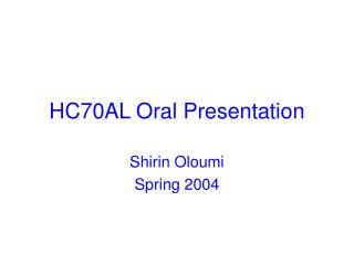 HC70AL Oral Presentation