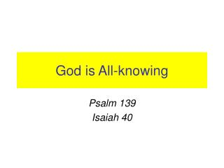 God is All-knowing