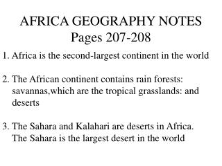 AFRICA GEOGRAPHY NOTES Pages 207-208