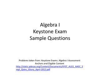 Algebra I  Keystone Exam Sample Questions