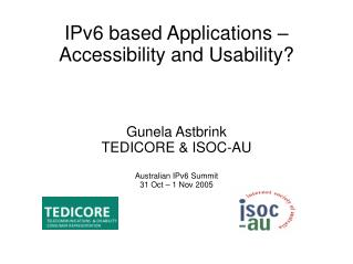 IPv6 based Applications � Accessibility and Usability?