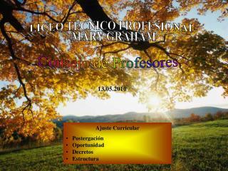 Ajuste Curricular    Postergación    Oportunidad    Decretos    Estructura