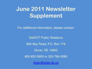 June 2011 Newsletter Supplement