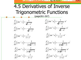 4.5 Derivatives of Inverse Trigonometric Functions (page261-267)