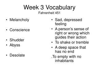Week 3 Vocabulary Fahrenheit 451