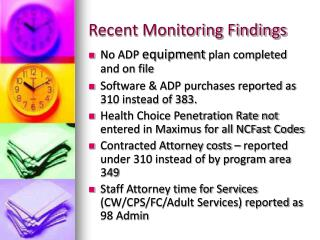 Recent Monitoring Findings