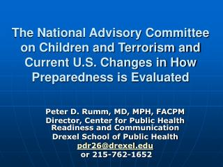 The National Advisory Committee on Children and Terrorism and Current U.S. Changes in How Preparedness is Evaluated