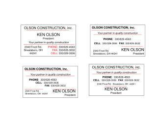 OLSON CONSTRUCTION, inc.