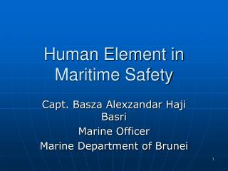 Human Element in Maritime Safety