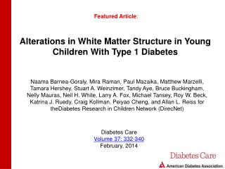 Alterations in White Matter Structure in Young Children With Type 1 Diabetes