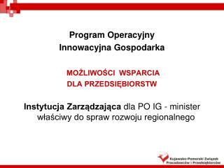 Program Operacyjny  Innowacyjna Gospodarka  MOŻLIWOŚCI  WSPARCIA DLA PRZEDSIĘBIORSTW