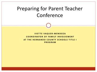 Preparing for Parent Teacher Conference
